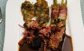 Hauptspeise: Burgunderbraten mit Kartoffel-Rucola-Rösti, Speckbohnen und Bratenjus