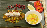 Vorspeise: Seeteufelfilet aus dem Bananenblatt an Linsensalat und Mango-Salsa