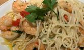 Spaghetti aglio e olio mit Knoblauchgarnelen
