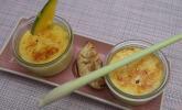 Nachspeise: Zweierlei Creme brûlée mit Bananen-Jiaozi