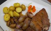Hauptspeise: Coq au vin und Rosmarinkartoffeln