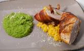 Hauptspeise: Huhn in fremder Jacke, Riso und frisches Grün