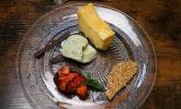 Nachspeise: Grieß, Basilikum, Erdbeere
