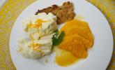 Nachspeise: Zitronencreme auf Mandelcrunch mit Orangensalat und Karamellsauce