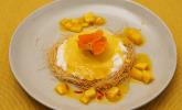 Nachspeise: Creme vom Basmatireis mit Mangomousse, Kataifiteig und Chili