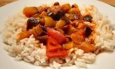 Rezept Schnelle vegane Zuchini-Paprika-Tomaten-Pfanne mit Reis