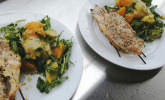 Rezept Sesamhühnchen mit Avocado-Orangen-Salat und Honig-Senf Dressing