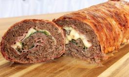 Hackfleisch-Bacon-Käse-Rolle