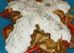 Vegetarischer Auberginensalat mit Tomate und Chili