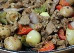 Rindfleischpfanne mit Champignons