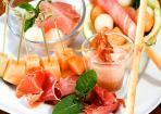 Melone und Schinken in verschiedenen Variationen